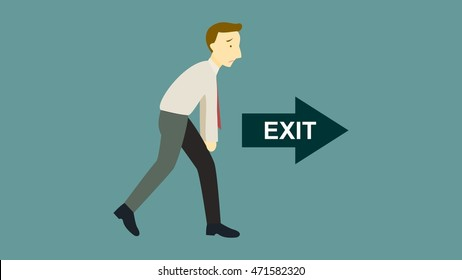 Man Gets Fired Quit Job Exit Sign