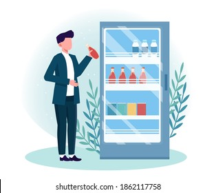 Man getting cold drink from fridge. Male character choose different beverages in summer time. Refridgerator with different cold beverages for every taste. Flat cartoon vector illustration