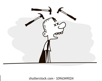 Man getting headache with hammer hitting on his head. headache and migraine concept. Vector illustration