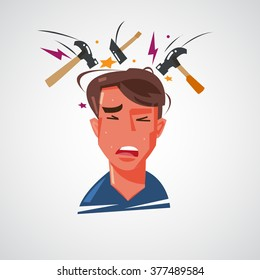 man getting headache with hammer hitting on his head. headache and migraine concept - vector illustration