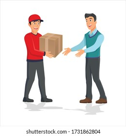 Man getting package from courier. Cartoon people characters. Young smiling man dressed in working uniform. Delivery service. House facade. Flat vector design