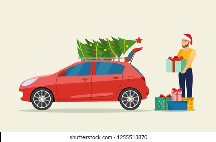 Man with Gift boxes next to the trunk of the car. Vector flat style illustration