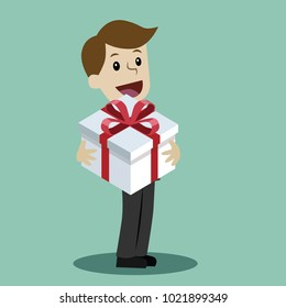 Man with a gift. Happy Valentains Day. Happy March 8 International Womens Day. Birhday gift. Element for greeting card