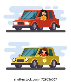Man and girl driving car. Vector flat design cartoon.