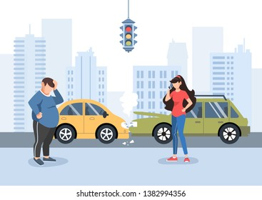 Man and girl had a traffic accident. Motor Insurance. Girl calling by cell phone. Flat vector illustration. Buildings background.