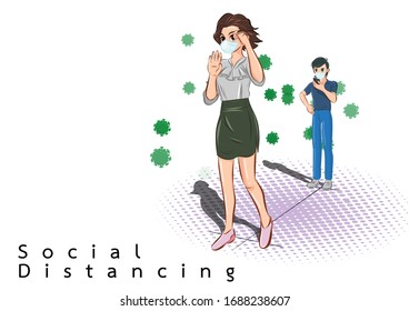 man and girl stand social distancing background vector