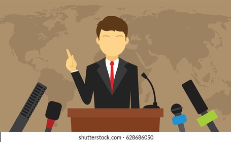man give press conference politics speech