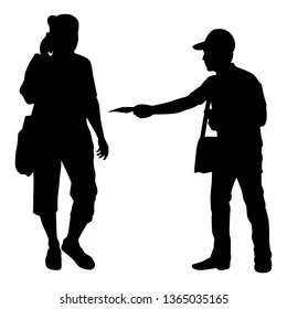 The man give promotion leaflet to people silhouette vector