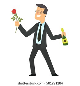 man gives a beautiful rose. vector illustration.