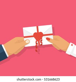 Man gives love letter in hands woman. Letter decorated with ribbons and red heart, symbol of love. Template recognition in love, celebrating Valentine's Day. Vector illustration isolated, flat design.