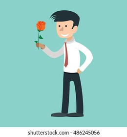 man gives rose, holding bunch of flowers, love confession, Hand drawn illustration