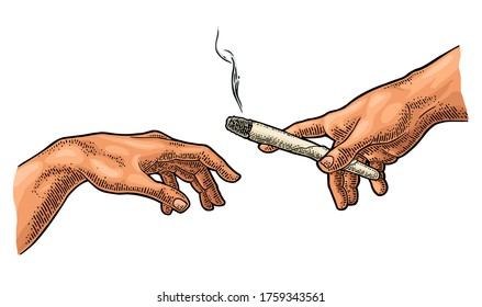 Man gives a smoking cigarette with marijuana. Section fresco The Creation of Adam. Vector color vintage engraving illustration isolated on a white background