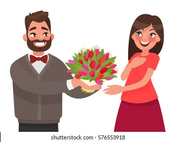 Man gives a woman a bouquet of flowers. Congratulations on a holiday or birthday. Vector illustration in cartoon style