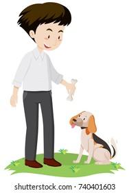Man giving bone to dog illustration