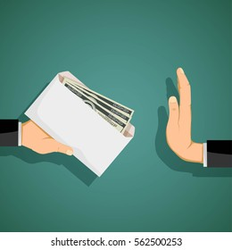 Man giving a bribe in an envelope. Stock vector illustration