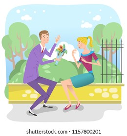 Man giving flowers to woman, couple sitting on wall in a park (vector illustration)