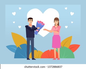 Man giving flowers to woman. Couple in love, St Valentine's greeting card. Poster for web page, banner, social media, presentation. Flat design vector illustration