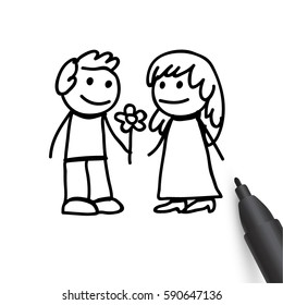 Man giving woman flowers, couple, boy and girl, Happy Women's Day holiday, romantic date, vector illustration in doodle style isolated on white background