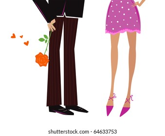 Man Giving Woman romantic gift - red rose. Vector Illustration.