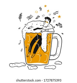 A man in the glass of beer. The element hand drawn, Vector Illustration doodle style.
