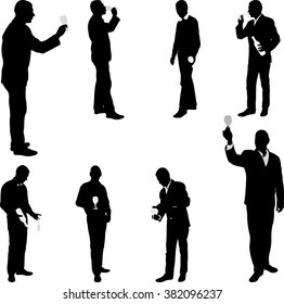 man with glass drinking silhouettes - vector