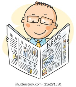 Man in glasses reading newpaper