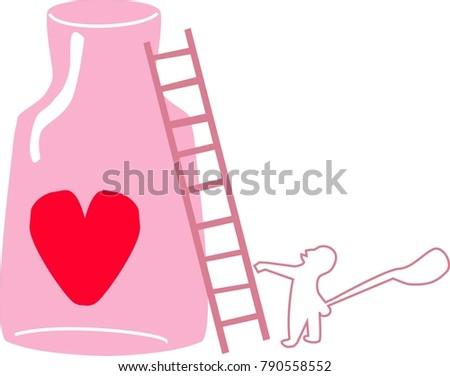 Man Go Get Heart Bottlecartoon Vector Stock Vector Royalty Free - Clip-art-of-heart