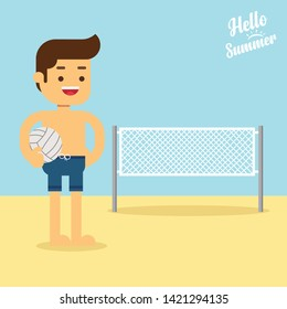 Man go to travel in summer holiday,Caucasian beach volleyball player standing on the background of voleyball net