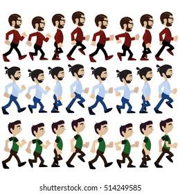 Man goes animation. Hipster animation. Man walks.