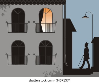 The man goes in the evening on a visit. Nearby there is a two-storeyed house. In a house window light burns.