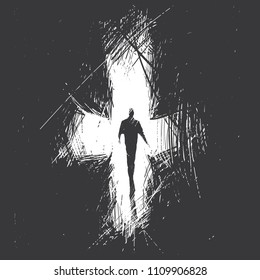 man goes into the distance against the background of an abstract cross. Last way