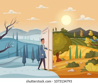 Man goes throught open door. Valley landscape. Cartoon vector illustration. Vintage poster. Welcome to summer.