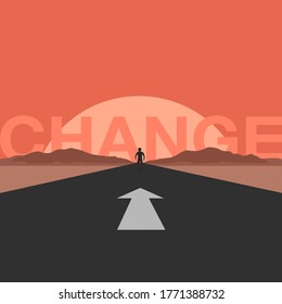 a man going ahead on the way to get change. vector illustration