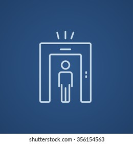 Man going through metal detector gate line icon for web, mobile and infographics. Vector light blue icon isolated on blue background.