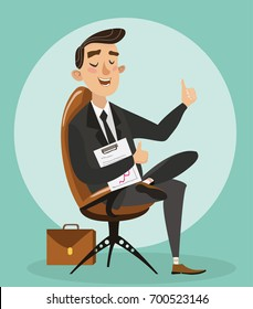 The man got the job of the boss. The businessman is sitting in the boss's chair. Businessman in suit shows thumb. Vector illustration