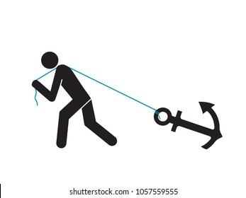man gragging heavy anchor
