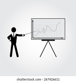 Man with graphic board. Man with infographic board. Businessman with infographic. Man in suit with infographic. Infographic for your presentations or lessons. Presentations infographic.