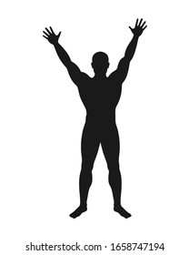 Man graphic icon. Male figure with hands up sign isolated on white background. Vector illustration