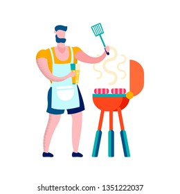 Man Grilling Sausages Flat Vector Illustration. Father, Husband Preparing Barbecue Snack. Cartoon Boy Wearing Apron, Holding Spatula. Man Cooking Food for Picnic, Summer Party, Weekend Relax Outdoors