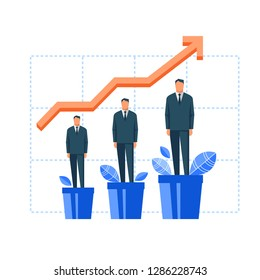 Man growing in flowerpot. Flat design vector illustration concept for career, professional growth, personal development, coaching, human resource management isolated on white