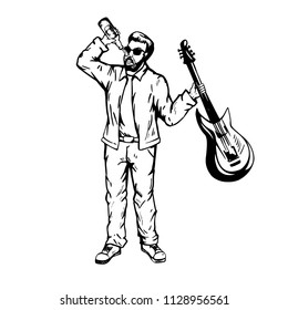 A man with a guitar drinks a soft drink. Hand  draw illustration in vector