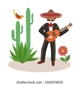 Man with guitar, Mexico, national costume, sombrero, cactus, agave, music festival, vector illustration