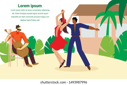 Man with Guitar Sits on Chair Play for Dancers. Dancers Dance Incendiary Dances. Dance Festival. Red Dress. People Fun. Vector Illustration. Advertising Image with Text. People Dance at Street.