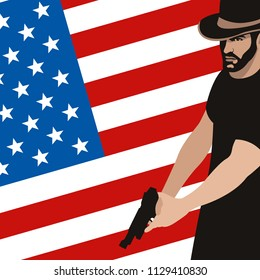 man with gun  on the background of the American flag  flat