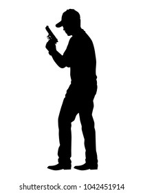 Man with gun silhouette vector