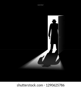A man with gun standing in the doorway. Armed robbery. Assassin. Killer. VECTOR illustration