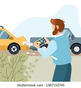 Man had a car accident. Motor Insurance. Guy taking picture on his mobile phone. Flat vector illustration.