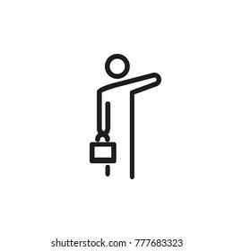 Man hailing taxi line icon