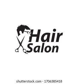 man hair logo with text space for your slogan / tagline, vector illustration
