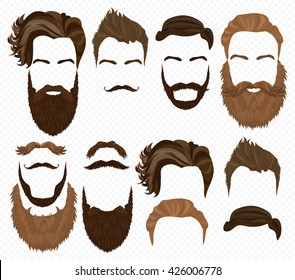 Man hair, mustache, beards collection. Hipster high detailed retro fashion elements.